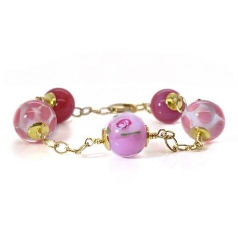 Adorable Pink Floral Murano Glass Bracelet By Heidi Kjeldsen jewellery BL1369 full view
