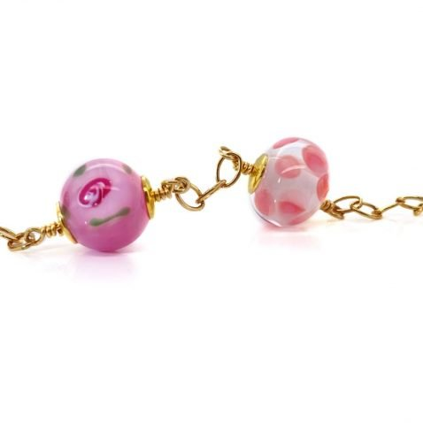 Adorable Pink Floral Murano Glass Bracelet By Heidi Kjeldsen jewellery BL1369 close-up view