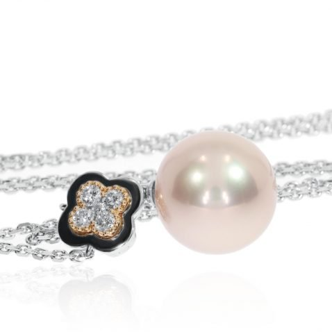 Lustrous Pink Pearl and Diamond Rose and White Gold Pendant Side