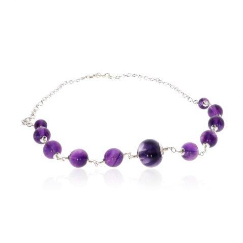 Amethyst and Murano Glass Necklace By Heidi Kjeldsen Jewellery NL1288 Flat View