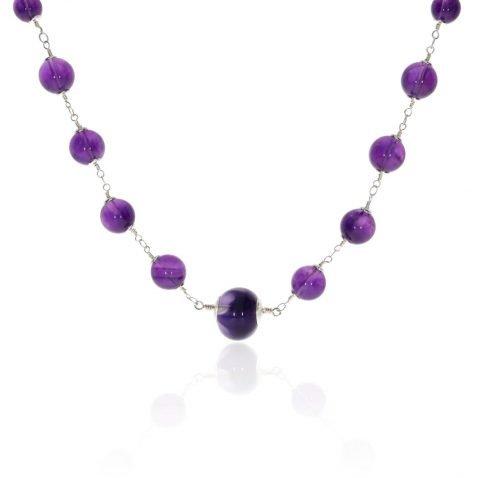 Amethyst and Murano Glass Necklace By Heidi Kjeldsen Jewellery NL1288 Hanging View