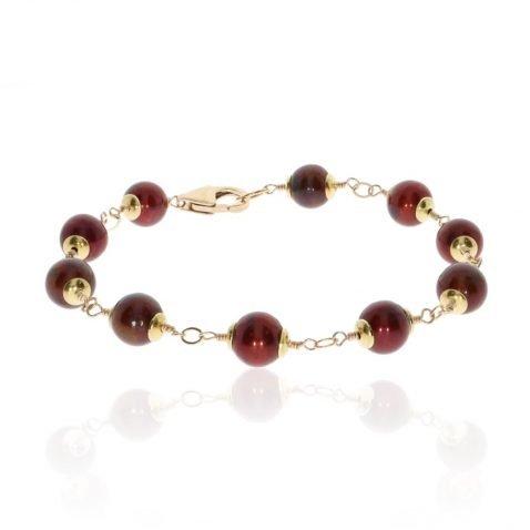 Cranberry Cultured Pearl Bracelet By Heidi Kjeldsen Jewellery BL1375 Round View