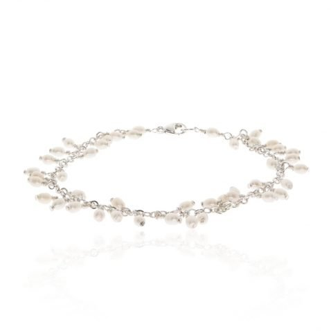 Drop Cultured Pearl and Silver Bracelet By Heidi Kjeldsen Jewellery BL1374 Round View