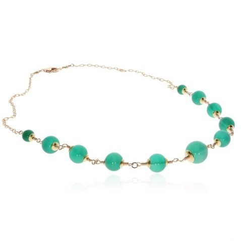 Green Agate and Gold Filled Necklace By Heidi Kjeldsen Jewellery NL1289 Flat View