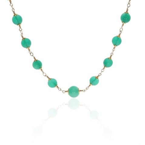 Green Agate and Gold Filled Necklace By Heidi Kjeldsen Jewellery NL1289 Hanging View
