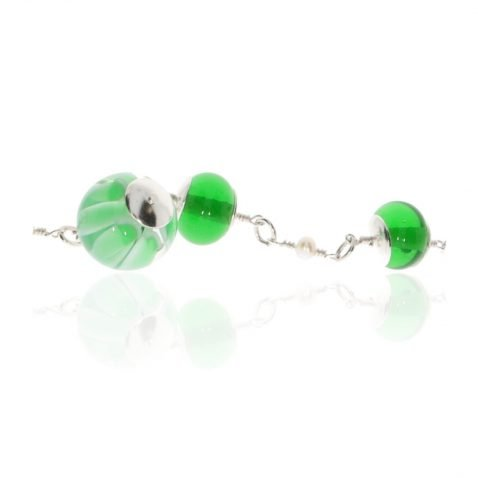 Green Murano Glass and Silver Necklace By Heidi Kjeldsen Jewellery NL1291 Close Up View