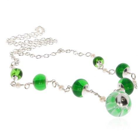 Green Murano Glass and Silver Necklace By Heidi Kjeldsen Jewellery NL1291 Flat View