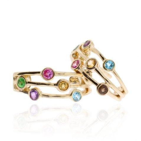 Multi-Gemstone Earrings By Heidi Kjeldsen Jewellers ER2516 Angled View