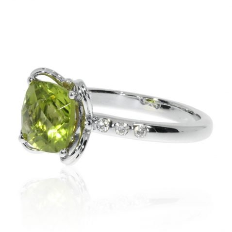Stylish Natural Peridot and Diamond Dress Ring - Heidi Kjeldsen Jewellers - R1539 Side