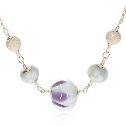Purple and Grey Murano Glass and Silver Necklace By Heidi Kjeldsen Jewellers NL1261 centre view