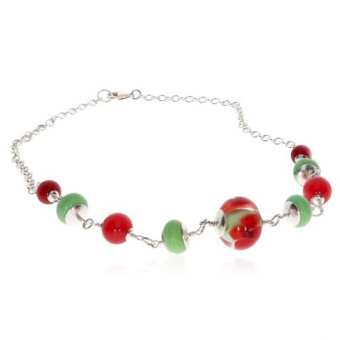 Red Agate and Murano Glass and Sterling Silver Necklace by Heidi Kjeldsen Jewellery NL1290 Flat View