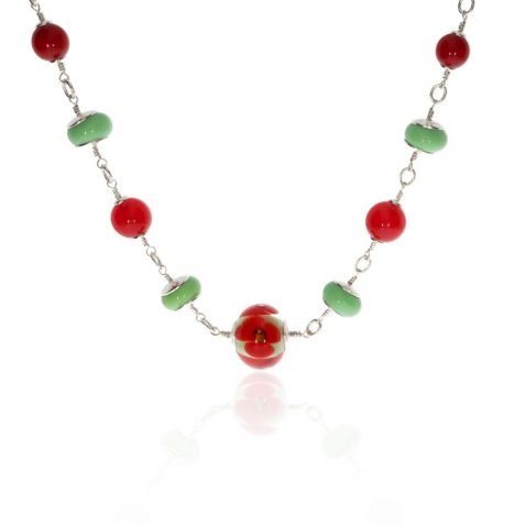 Red Agate and Murano Glass and Sterling Silver Necklace by Heidi Kjeldsen Jewellery NL1290 Hanging View