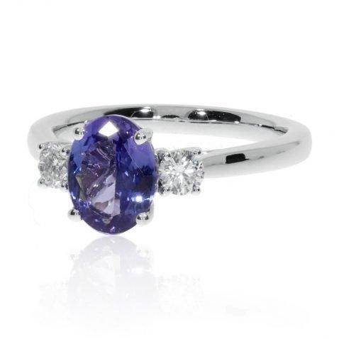 Tanzanite and Diamond Ring By Heidi Kjeldsen Jewellers R1671 Side