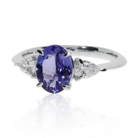 Tanzanite and Diamond Ring By heidi Kjeldsen Jewellers R1672 Side