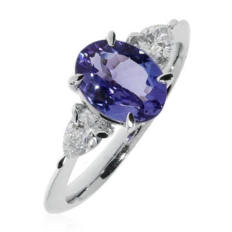 Tanzanite and Diamond Ring By heidi Kjeldsen Jewellers R1672 Standing