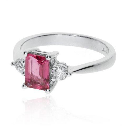 Stylish Pink Tourmaline and Diamond Ring by Heidi Kjeldsen Jewellers CS0400 side