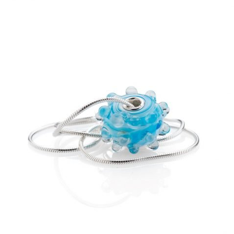 Blue Dot Murano Glass Pendant By Heidi Kjeldsen Jewellery P11067 Side View