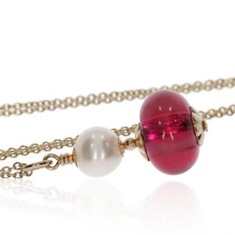 Cerise Pink and Pearl Murano Glass Pendant By Heidi Kjeldsen Jewellery P1389 Side