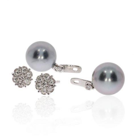 Diamond and Tahitian Pearl Earrings By Heidi Kjeldsen Jewellery ER4741 Side View