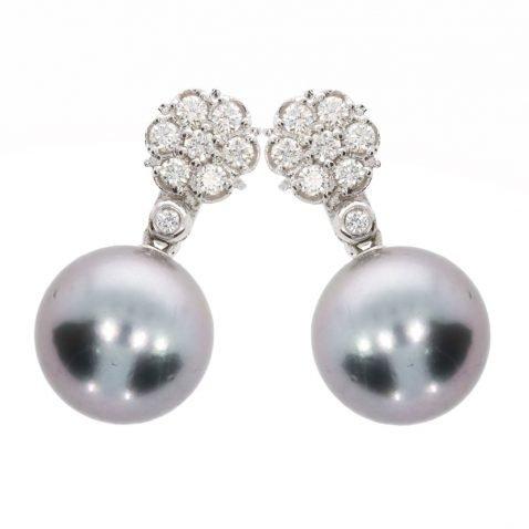 Diamond and Tahitian Pearl Earrings By Heidi Kjeldsen Jewellery ER4741 Slant View