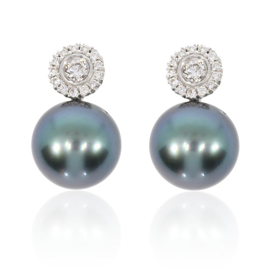 Diamond and Tahitian Pearl Earrings By Heidi Kjeldsen Jewellery Front View ER4740