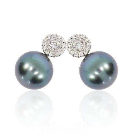 Diamond and Tahitian Pearl Earrings By Heidi Kjeldsen Jewellery Slant View ER4740