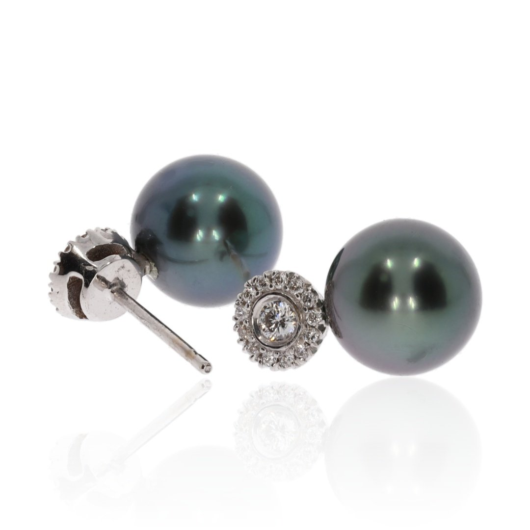 Diamond and Tahitian Pearl Earrings By Heidi Kjeldsen Jewellery Side View ER4740