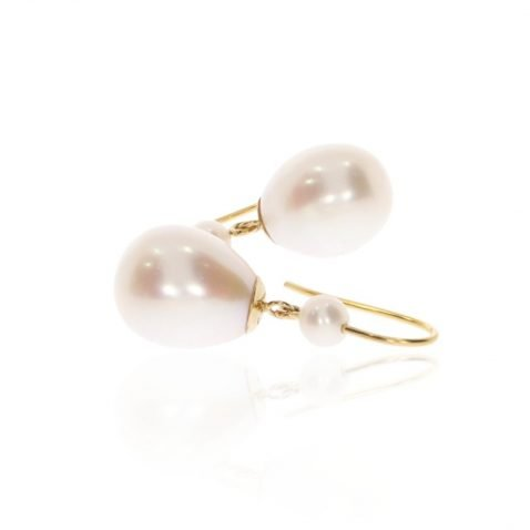 White Pearl Drop Earrings By Heidi Kjeldsen Jewellery ER2511 Side View