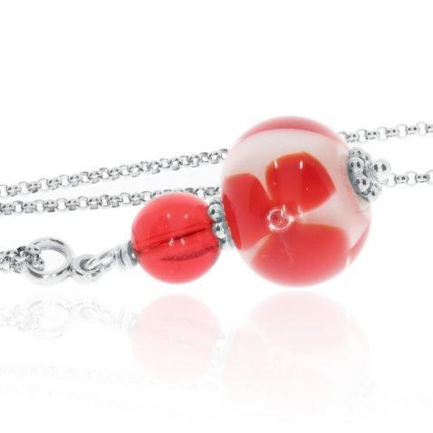 Red Floral Design Murano Glass Pendant By Heidi Kjeldsen Jewellery P1328 Side