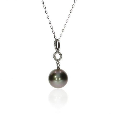 Tahitian Pearl and Diamond Pendant By Heidi Kjeldsen Jewellery P888 Side View