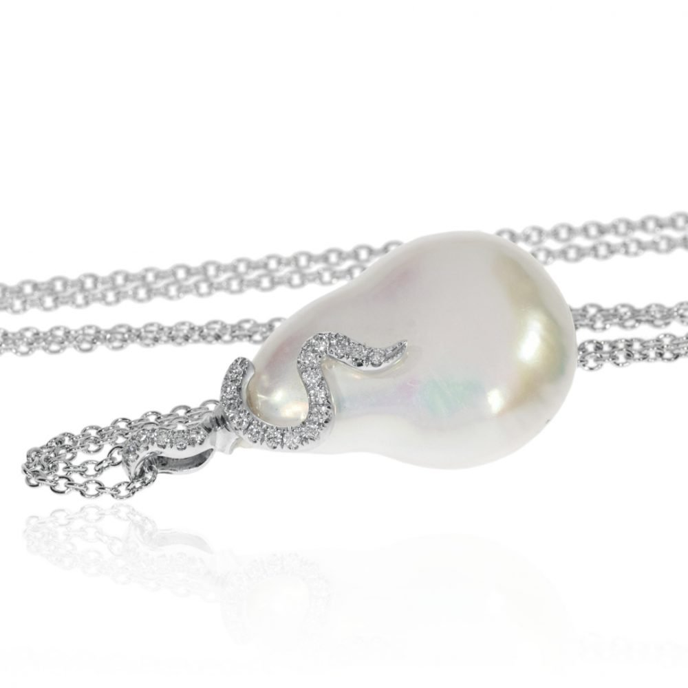 Baroque Pearl and Diamond Pendant By Heidi Kjeldsen Jewellery P1443 Side