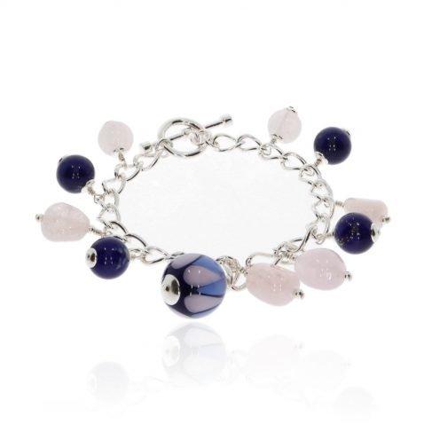Murano Glass and Rose Quartz Bracelet by Heidi Kjeldsen BL1386 round