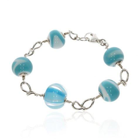 Blue and White Murano Glass Bracelet By Heidi Kjeldsen Jewellers BL1339 round