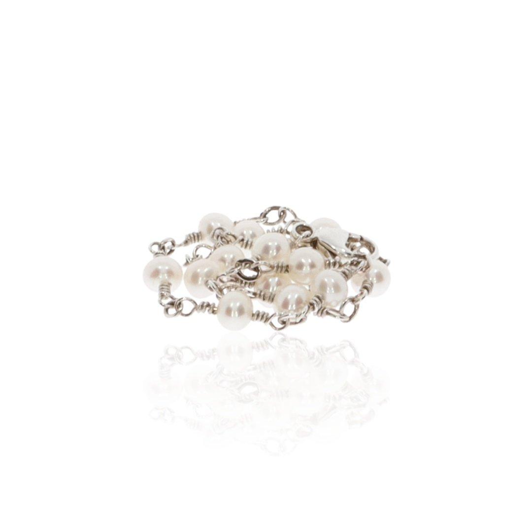 Cultured Pearl and Silver Bracelet By Heidi Kjeldsen Jewellery BL1343 Stack