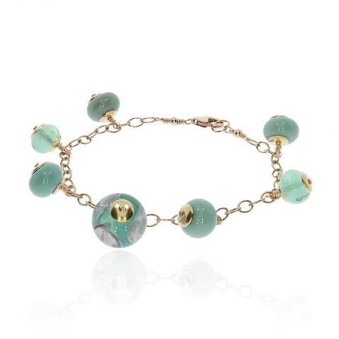 Green floral Murano Glass Bracelet By Heidi Kjeldsen Jewellery BL1392 round