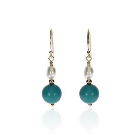 Howlite and Pearl Earrings by Heidi Kjeldsen Jewellery ER4762 Front