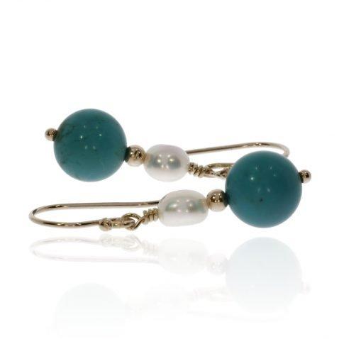 Howlite and Pearl Earrings by Heidi Kjeldsen Jewellery ER4762 Side