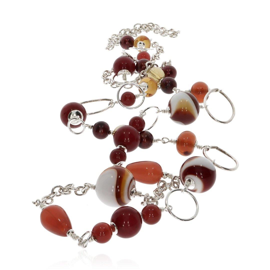 Murano Glass and Gemstone Necklace by Heidi Kjeldsen Jewellery NL1304 Long
