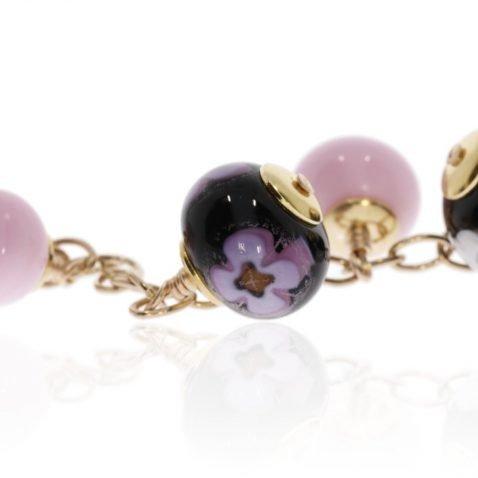 Pink Floral Murano Glass Bracelet By Heidi Kjeldsen Jewellery BL1390 Close