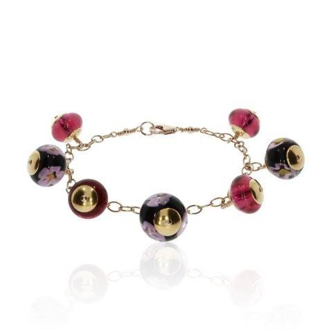 Cerise Pink Floral Murano Glass Bracelet By Heidi Kjeldsen Jewellery BL1390 Flat