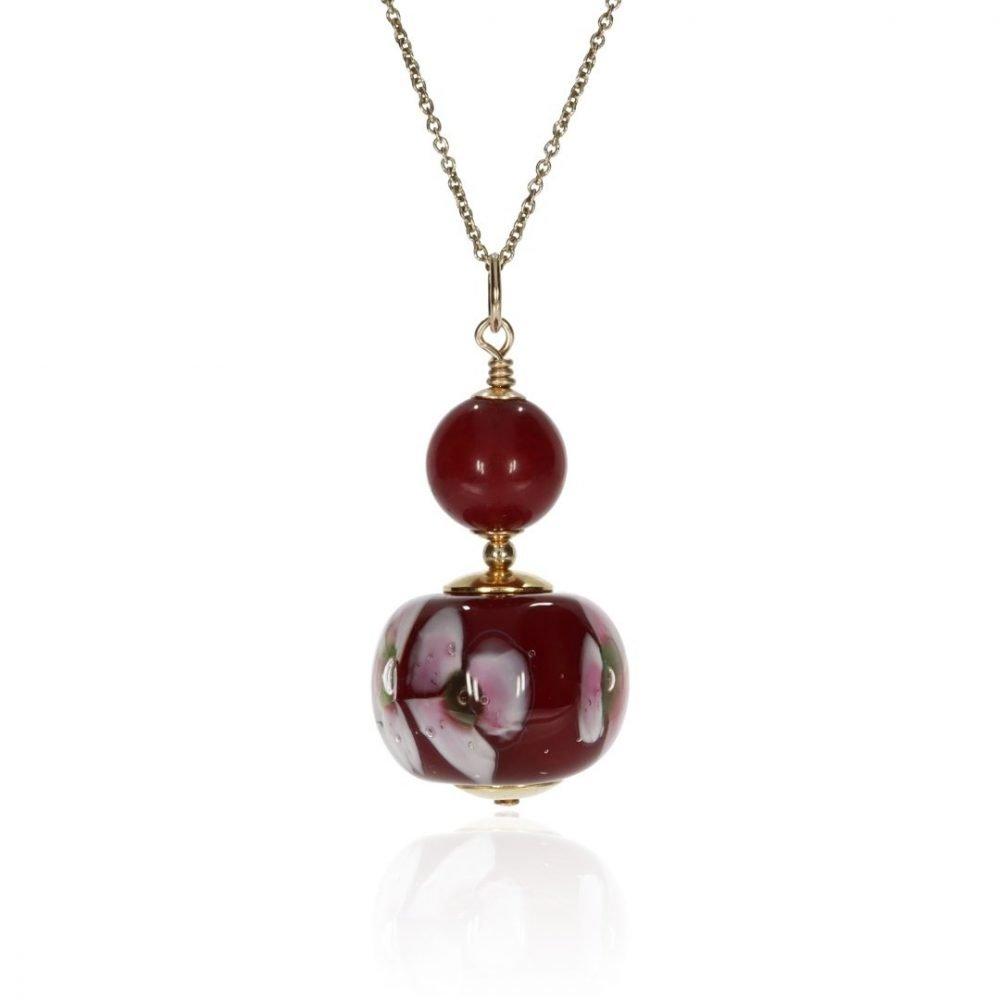 Pink Floral and Deep Red Murano Glass Pendant By Heidi Kjeldsen Jewellery P1451 Front