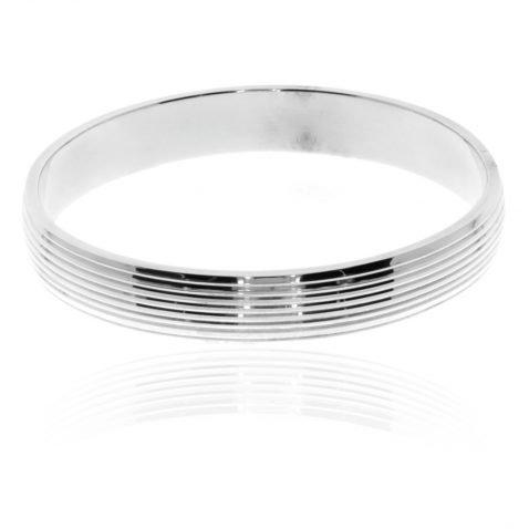 Wide Sterling Silver Ridged Bangle By Heidi Kjeldsen Jewellery BL1303 Flat