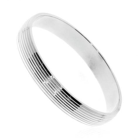 Wide Sterling Silver Ridged Bangle By Heidi Kjeldsen Jewellery BL1303 Standing