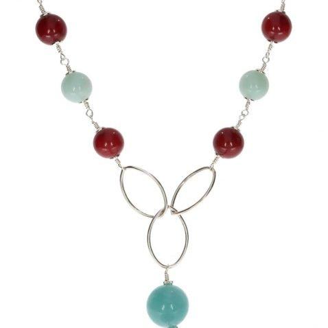 Aquamarine, Amazonite, Red Agate and Murano Glass Necklace By Heidi Kjeldsen Jewellery NL1307 Close Up 2