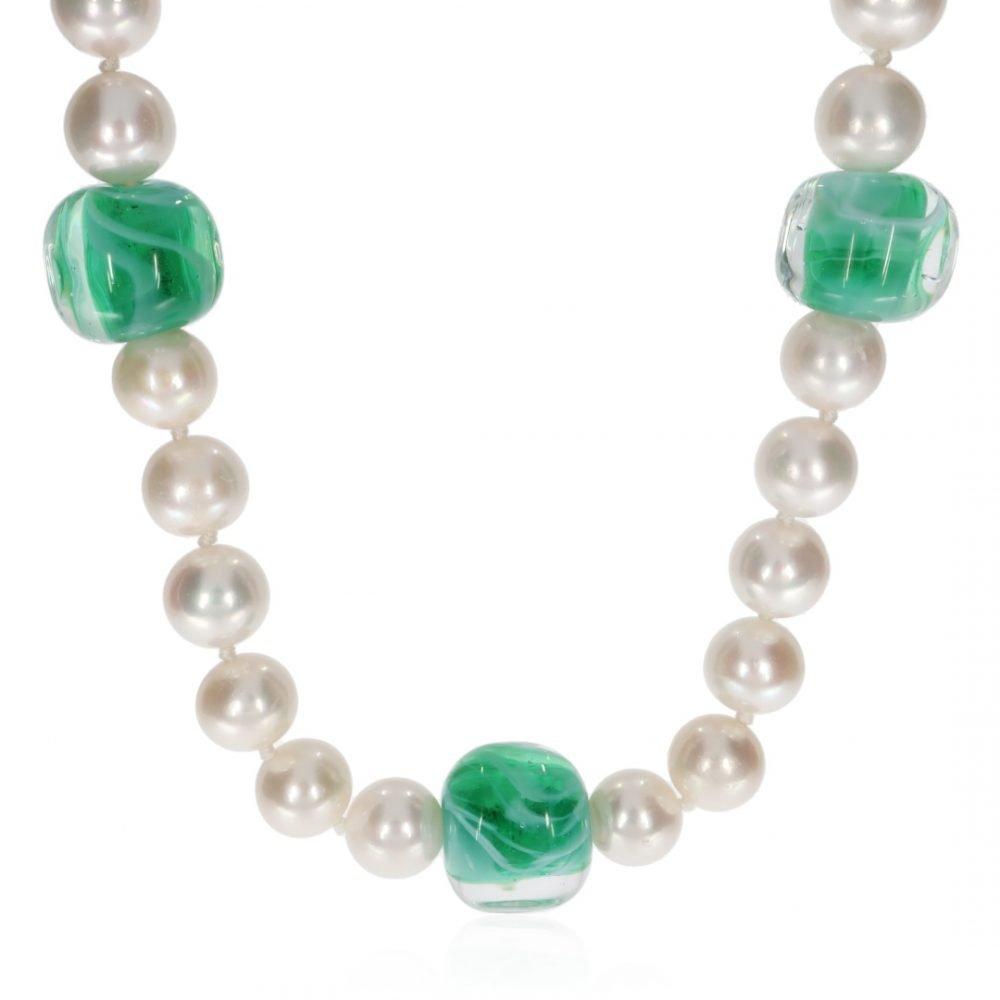 Green Murano Glass and Pearl Necklace By Heidi Kjeldsen Jewellery NL1311 Front
