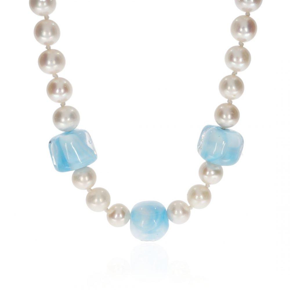 Ice Blue Murano Glass and Cultured Pearl By Heidi Kjeldsen Jewellery NL1309 Front