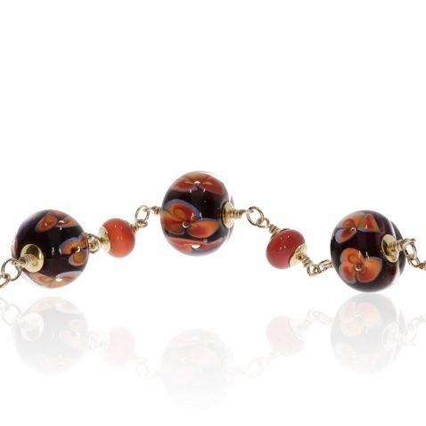 Orange and Blue Floral Murano Glass Necklace By Heidi Kjeldsen Jewellery NL1314 Close Up