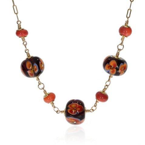Orange and Blue Floral Murano Glass Necklace By Heidi Kjeldsen Jewellery NL1314 Front