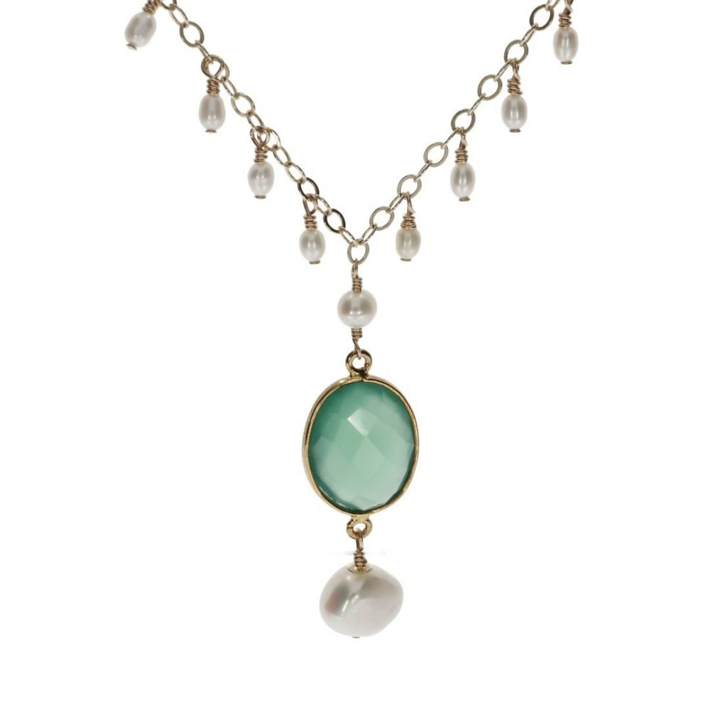 Green Agate and Drop Cultured Pearl Necklace By Heidi Kjeldsen Jewellery NL1305 Front