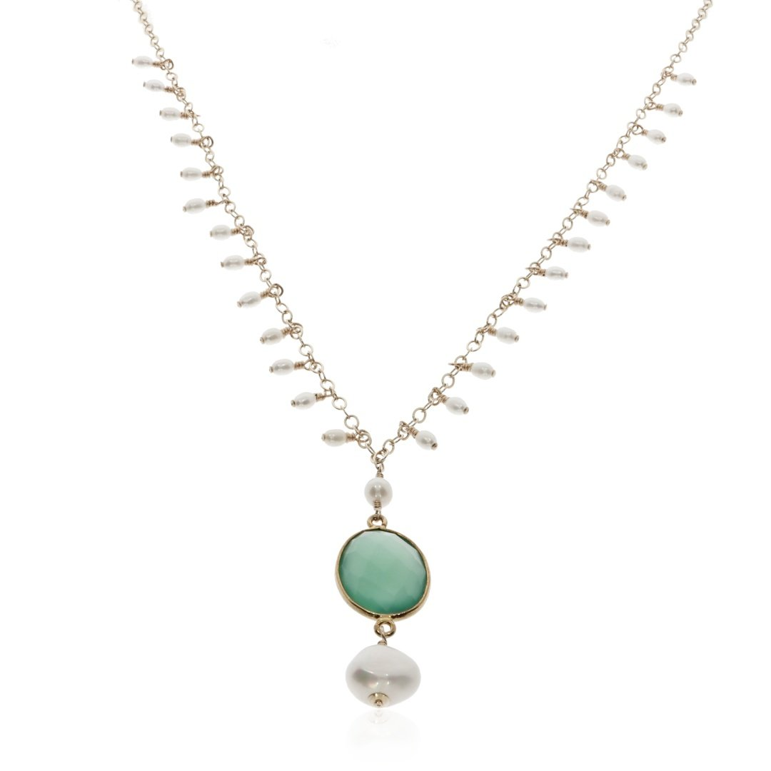 Green Agate and Drop Cultured Pearl Necklace By Heidi Kjeldsen Jewellery NL1305 Front 2